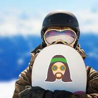 Hippie Man with Long Hair Sticker on a Snowboard example