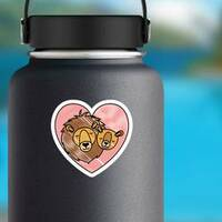 Wild Lion Couple In Heart Sticker on a Water Bottle example