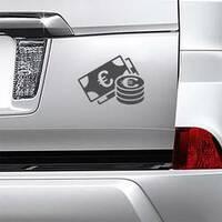 Euro Money Sticker on a Car Bumper example