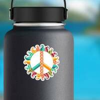 Zentangle Hippie Vintage Peace Symbol Sticker on a Water Bottle example