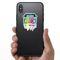 Hippie Van Dripping Rainbow Paint Sticker on a Phone example