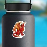 Majestic Red Dragon Sticker on a Water Bottle example