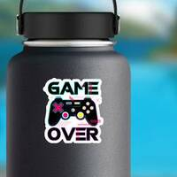 Game Over Joypad Console Controller Sticker on a Water Bottle example
