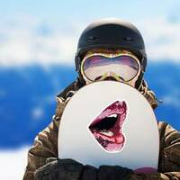 Abstract Glossy Pink And Red Lips Sticker on a Snowboard example