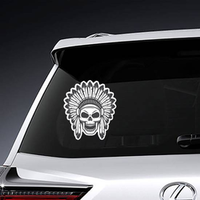American Indian Skull in Headdress Sticker