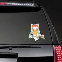 Cute Colorful Sleeping Owl Sticker on a Rear Car Window example