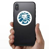 Angry Lion Head Circle Sticker on a Phone example