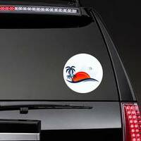 Sea Waves, Beach, and Trees Sticker on a Rear Car Window example