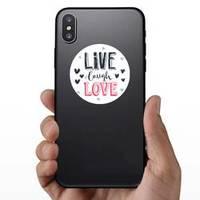 Hand Drawn Romantic Lettering Live Laugh Love Sticker