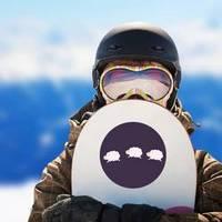 Three Jumping Sheep On Dark Purple Background Sticker