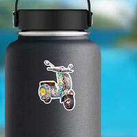 Hippie Zentangle Style Scooter Sticker on a Water Bottle example