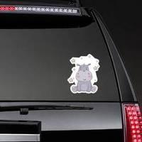 Cute Hippo And Stars Sticker