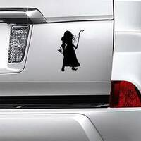 Silhouette Of A Girl Archer With Long Hair Sticker example