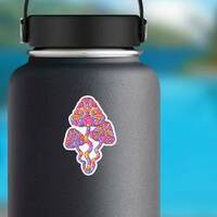 Magic Psychedelic Mushrooms Hippie Sticker on a Water Bottle example
