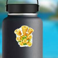 Stacks of Coins World Illustration Sticker on a Water Bottle example