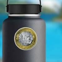 British One Pound Sticker on a Water Bottle example