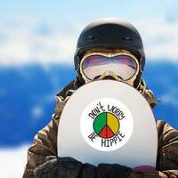 Don't Worry, Be Hippie Rasta Circle Sticker on a Snowboard example