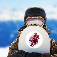 Watercolor Cowboy Sticker on a Snowboard example
