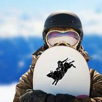 Bull Rider Black Sticker on a Snowboard example