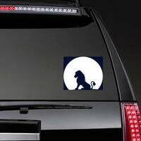 Lion Sitting On A Rock Looking At The Moon Sticker on a Rear Car Window example