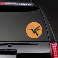 Hummingbird On Orange Background Sticker example
