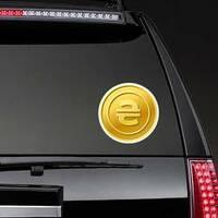 Ukrainian Hryvnia Currency Sticker on a Rear Car Window example