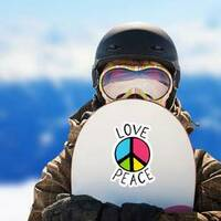 Love And Peace Colorful Hippie Sticker on a Snowboard example