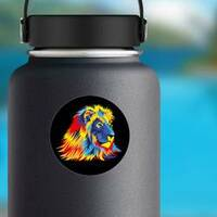 Lion With Bright Colors Sticker on a Water Bottle example
