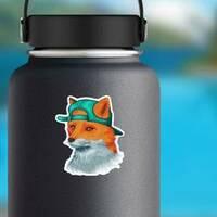 Awesome Fox Wearing Backward Hat Sticker on a Water Bottle example
