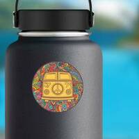 Hippie Vintage Mini Van Circle Sticker on a Water Bottle example