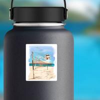 Beach Volleyball Landscape Painting Sticker