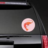 Shrimp In Flat Style Pink Sticker