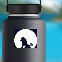 Lion Sitting On A Rock Looking At The Moon Sticker on a Water Bottle example