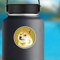 Standard Dogecoin Sticker on a Water Bottle example