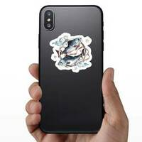 Pisces Watercolor Sticker on a Phone example