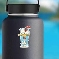 Illustration Of Cartoon Crazy White Chicken Sticker example