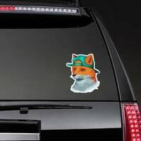 Awesome Fox Wearing Backward Hat Sticker on a Rear Car Window example