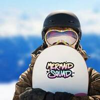 Black Paint Mermaid Squad Sticker on a Snowboard example