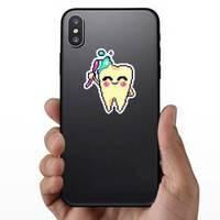 Tooth Pixel Art Brushing Itself Sticker