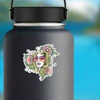 Girl In Glasses And Flowers Hippie Sticker on a Water Bottle example