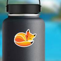 Fox Curled Up In A Ball Sleeping Sticker on a Water Bottle example