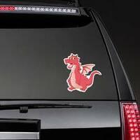 Funny Red Dragon Cartoon Sticker on a Rear Car Window example