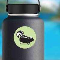 Skunk Illustration On Green Background Sticker