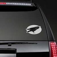 Illustration Of The Black Raven Crow Bird In Oval Sticker example