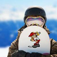 Fast Pitch Softball Girl Sticker on a Snowboard example