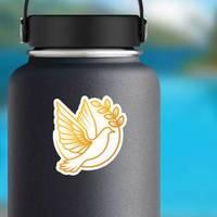 Dove Logo Illustration In Gold Sticker example
