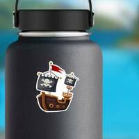 Pirate Ship Jolly Roger Flag Sticker on a Water Bottle example