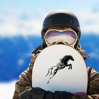 Flame Trail Horse Sticker on a Snowboard example