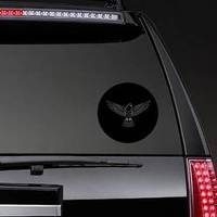 Engraving Of Stylized Dove On Black Background Sticker example