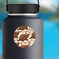 Pattern With Cartoon Cute Beaver Forest Sticker
